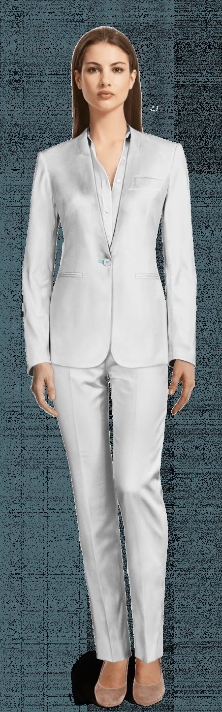 ec63d5b82ddc Traje de mujer sin solapas blanco de lino