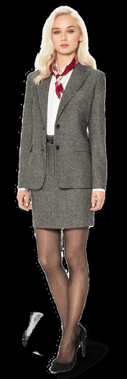 Tailleur jupe gris clair de tweed