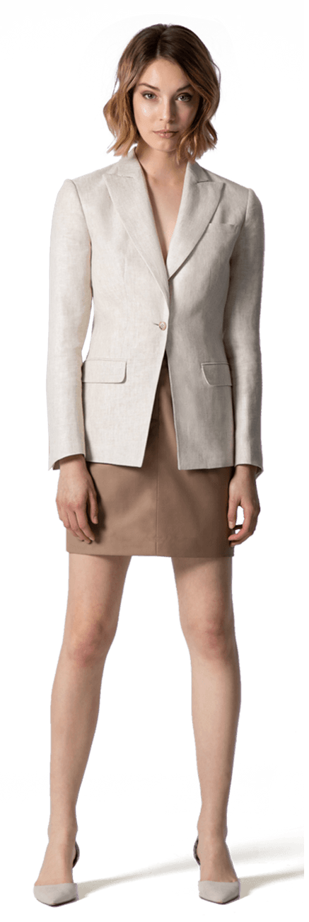 6a8339e63c243 Beige linen Skirt suit $329 - Hurley | Sumissura
