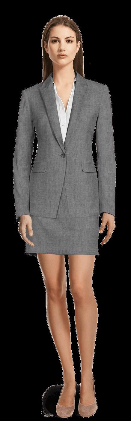 Tailleur mini jupe gris en lin