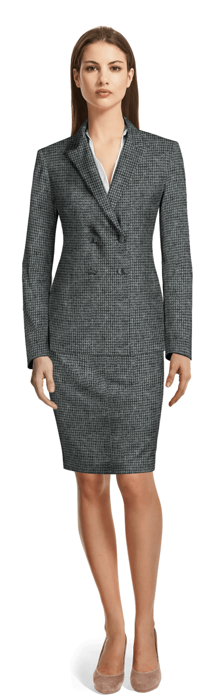 6b7ecb252ab Charcoal Grey double breasted wool blend Skirt Suit