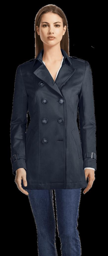 Genieße den niedrigsten Preis heißer Verkauf online Factory Outlets Kurzer Blauer Trenchcoat
