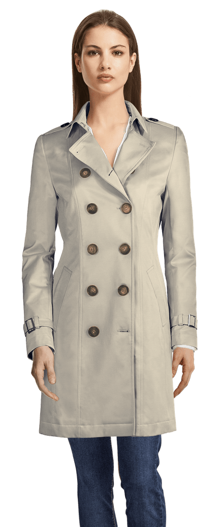 trench gris long femme