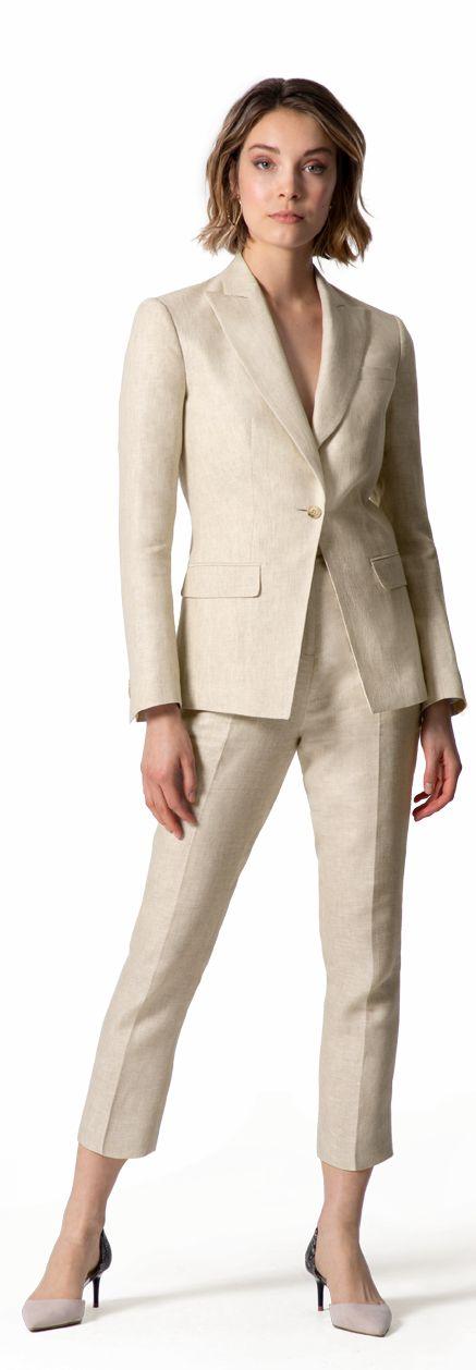 beige linen suit for woman