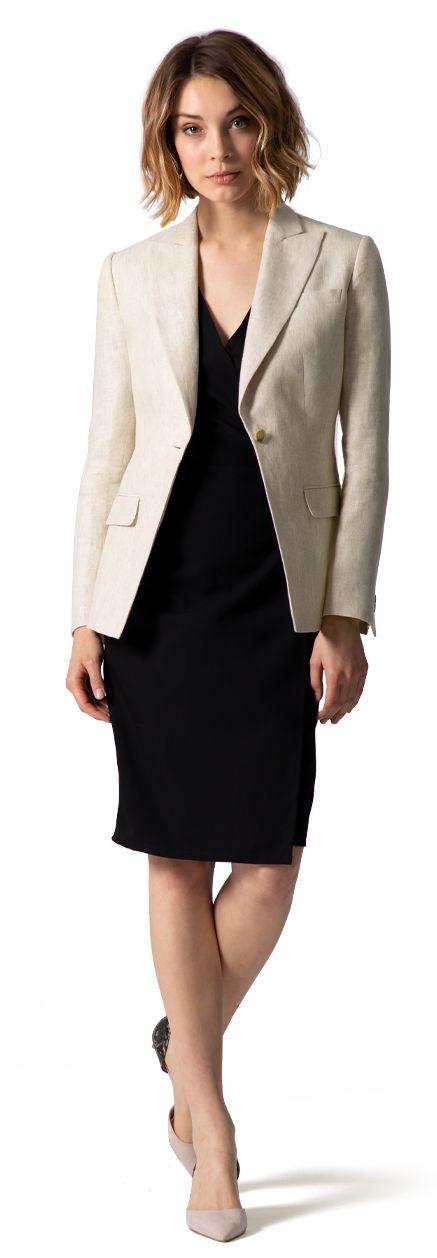 blazer beige di lino