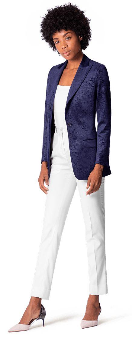 Women's paisley blue velvet jacket