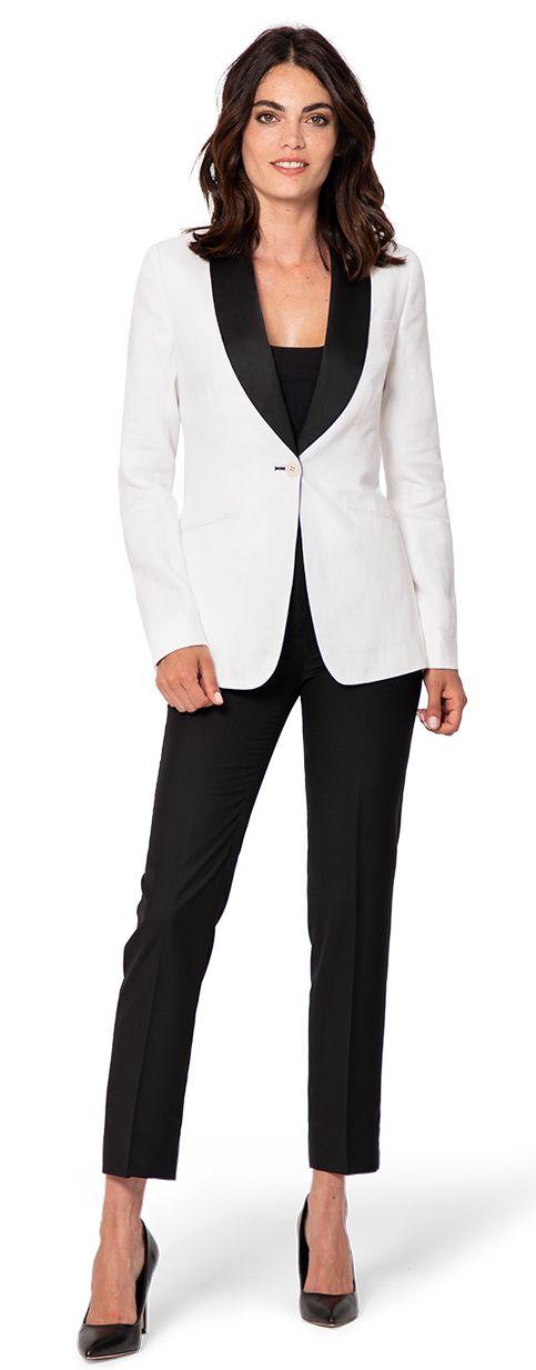 veste smoking femme blanc avec revers noir