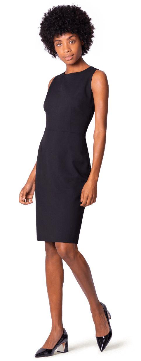 vestido negro sin mangas a medida