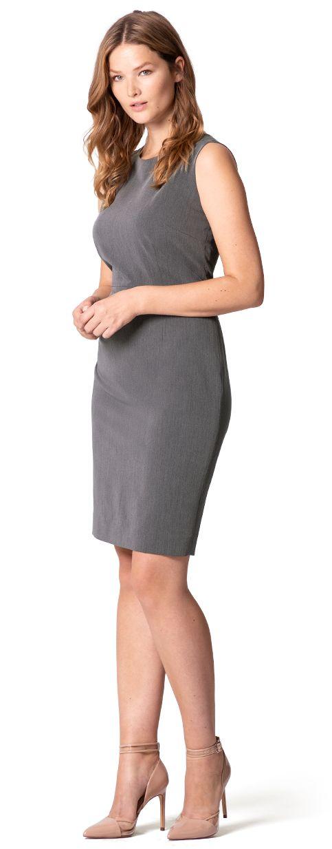 plus size work sheath dress in grey