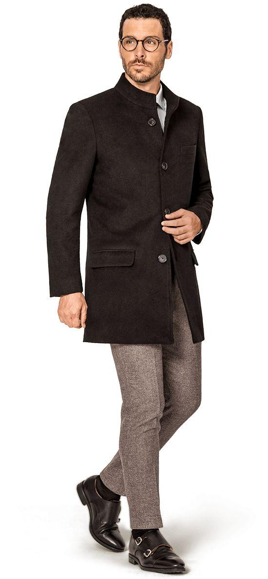 abrigo negro para hombre