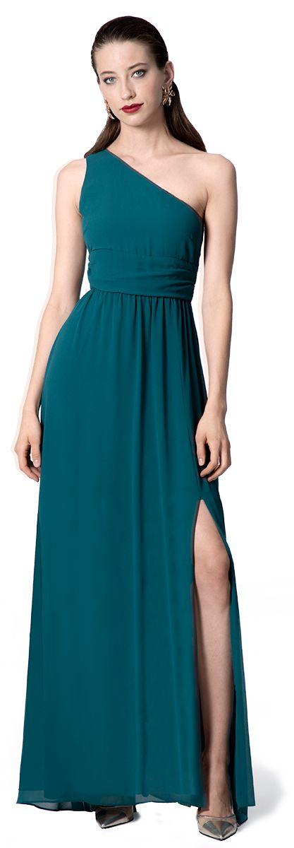 vestido asimétrico en verde