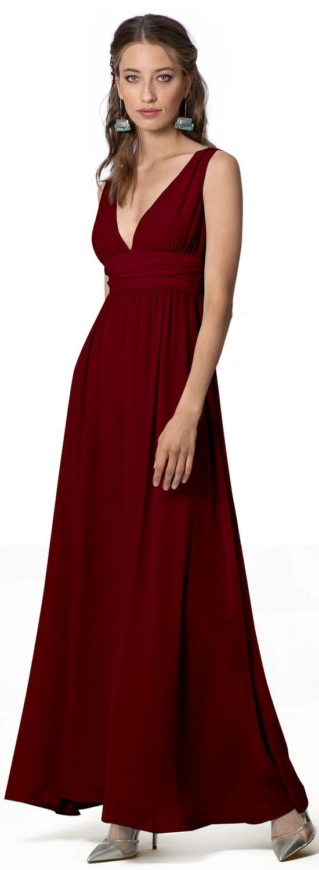 burgundy empire waist bridesmaid dress