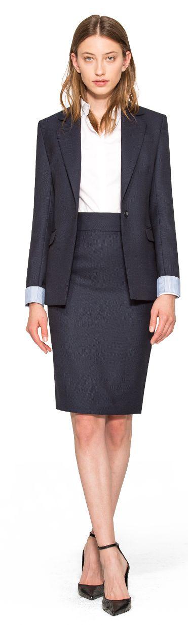 traje falda azul