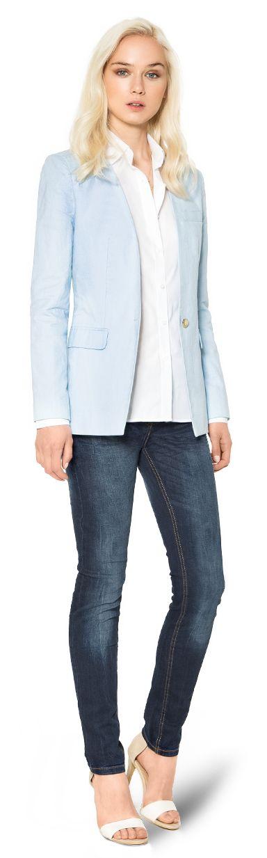 blazer de mujer azul claro