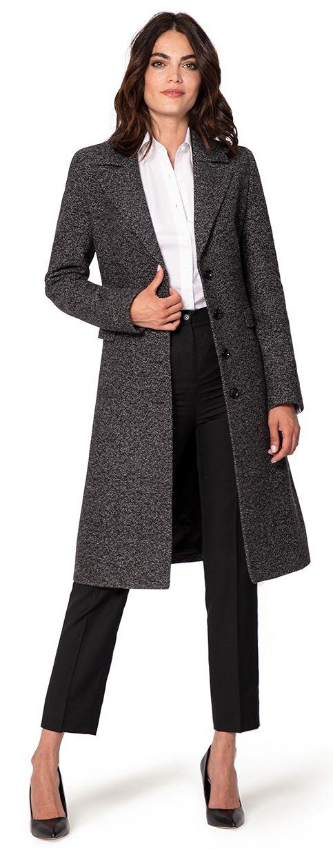 grey women's single breasted wool coat