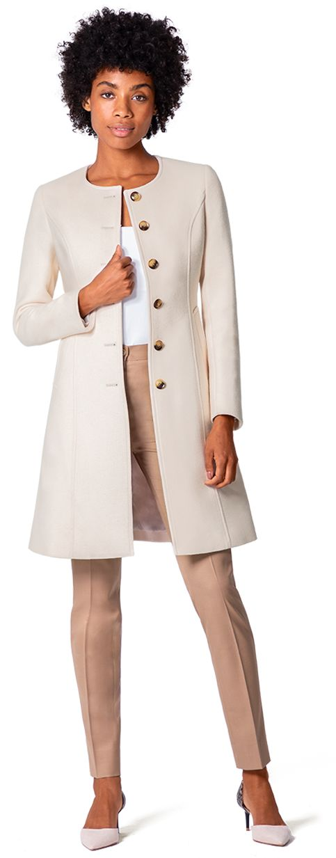 abrigo mujer beige sin cuello