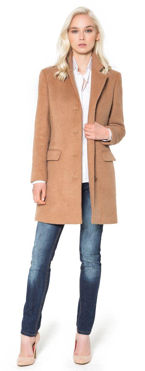 manteau coupe simple camel