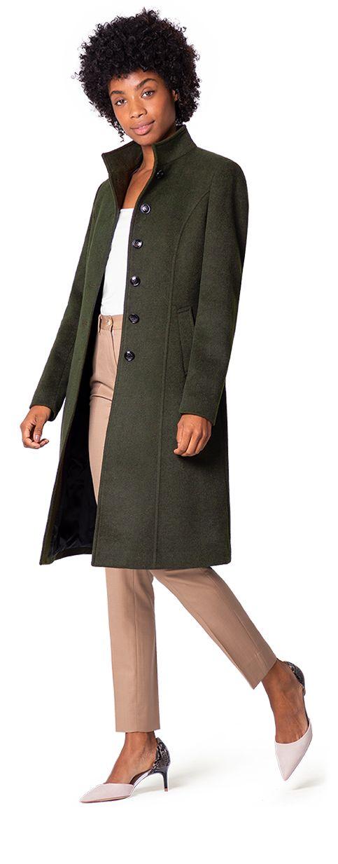 abrigo cuello alto mujer verde