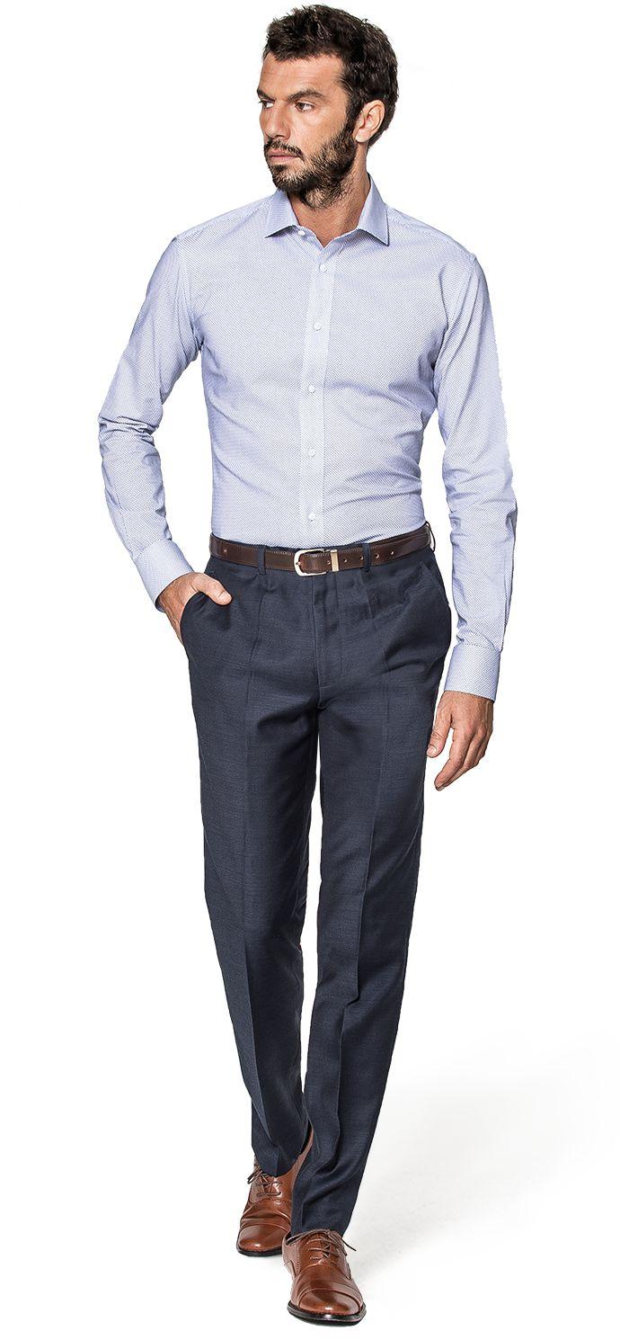 camisa azul hombre