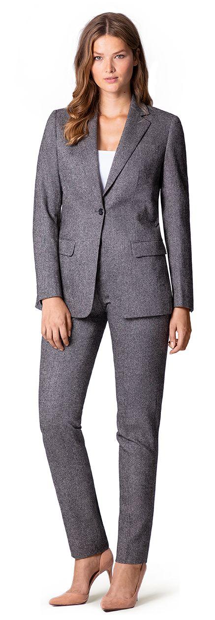 grey tweed suit for woman